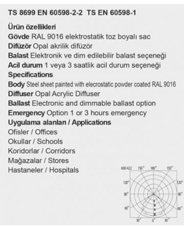 4X14-2X14 CLİP-İN TAVAN OPAL CAMLI ARMATÜR